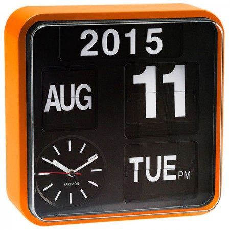 Karlsson Mini Flip Wall Clock (Orange) - Red Candy