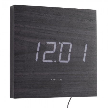 Karlsson Square LED Wall Clock (Black) - Red Candy