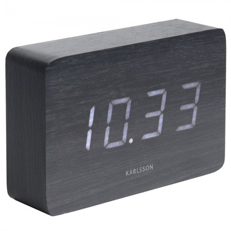 Karlsson Square LED Alarm Clock (Black) - Red Candy