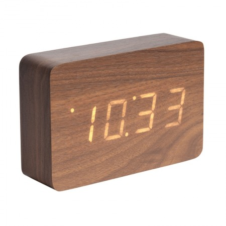 Karlsson Square LED Alarm Clock (Dark Wood) - Red Candy