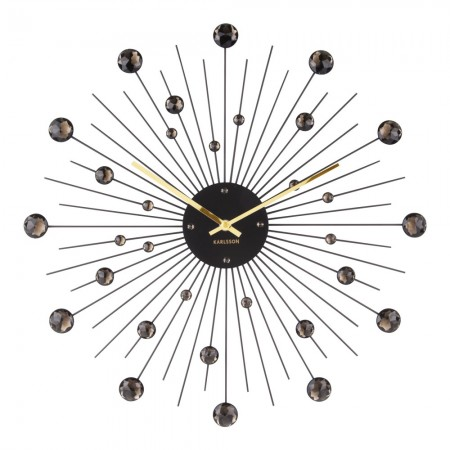 Karlsson Sunburst Large Wall Clock (Black) - Red Candy