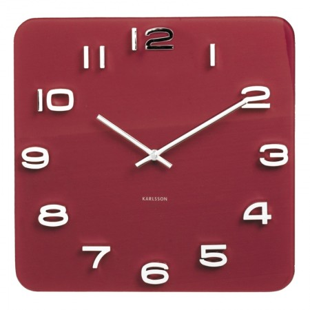 Karlsson Vintage Square Glass Clock (Burgundy Red) - Red Candy
