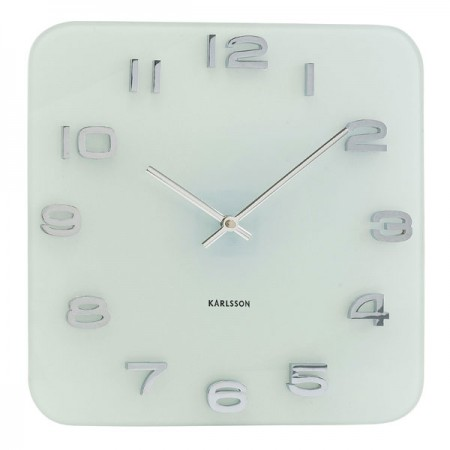 Karlsson Vintage Square Glass Clock (White) - Red Candy