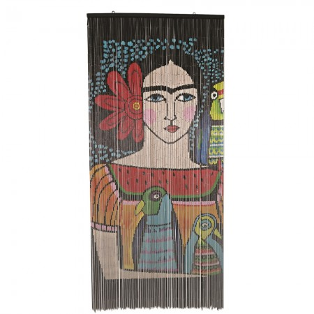 Frida Illustrated Bamboo Door Curtain - Red Candy