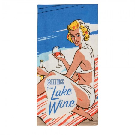 Lake Wine Tea Towel - Red Candy