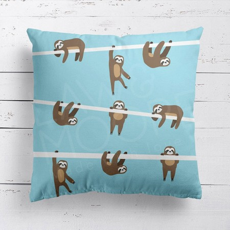 Sloth Sky Blue Cushion - Red Candy