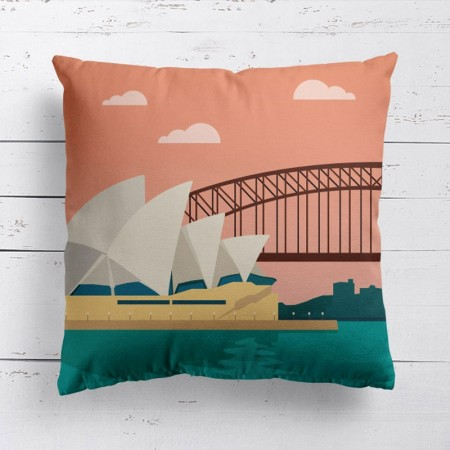 Sydney Opera House Cushion - Red Candy
