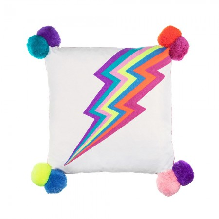 Lightning Bolt Embroidered Cushion - Red Candy