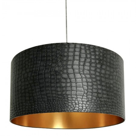 Mock Crocodile Print Lampshade (Black and Gold) - Red Candy