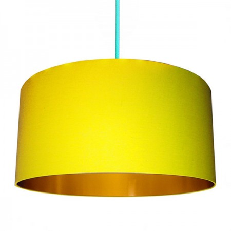 Love Frankie Cotton Lampshade (Sunshine Yellow & Gold) - Red Candy