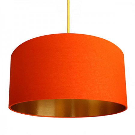 Love Frankie Cotton Lampshade (Tangerine & Gold) - Red Candy