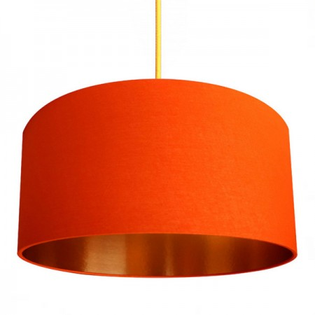 Love Frankie Fabric Lampshade (Tangerine & Brushed Copper) - Red Candy