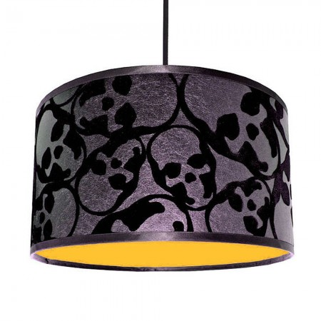 Flocked Skulls Jet Black Lampshade (Neon Orange) - Red Candy