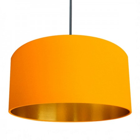 Love Frankie Linen Lampshade (Egg Yolk Yellow & Gold) - Red Candy