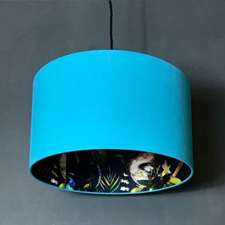 Silhouette Cotton Lampshade (Blue Lemur in Sky Blue) - Red Candy