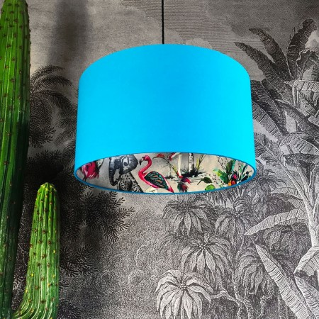 Silhouette Cotton Lampshade in Grey Chimiracle (Topaz Blue) - Red Candy