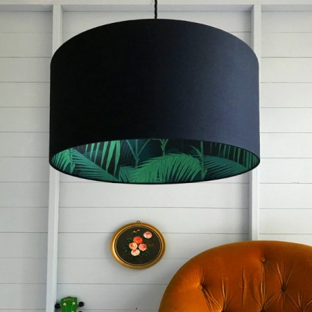 Silhouette Cotton Lampshade (Palm Jungle in Black) - Red Candy