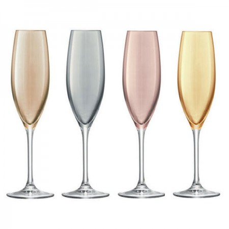 LSA Polka Champagne Glasses (Metallic Set of 4) - Red Candy