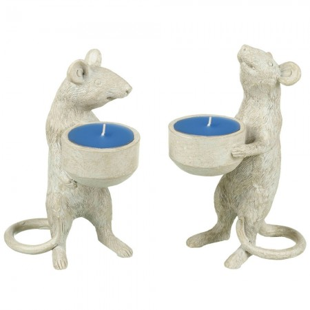 Mac & Cheese Mouse Tealight Holders (Set of 2) - Red Candy