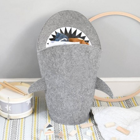 Mark the Shark Laundry Basket - Red Candy