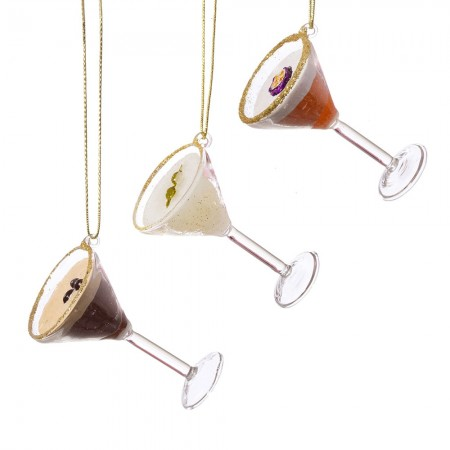 Martini Cocktail Baubles (Set of 3) - Red Candy
