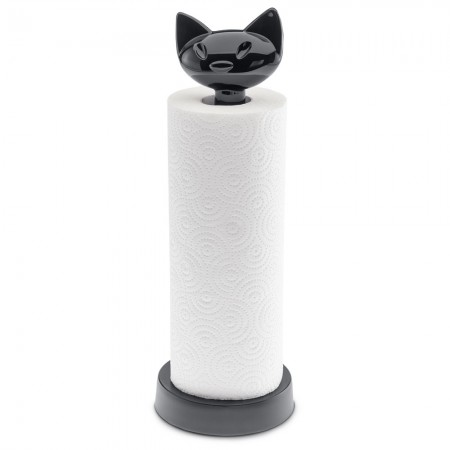 Miaou Black Cat Kitchen Roll Stand - Red Candy
