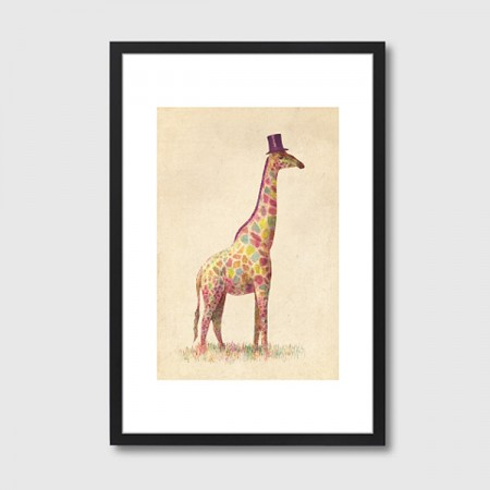 Fashionable Giraffe Framed Art Print - Red Candy