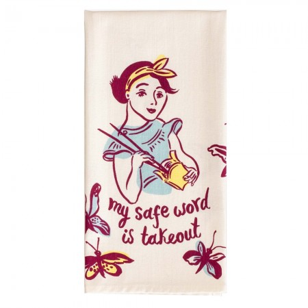 My Safe Word is Takeout Tea Towel - Red Candy