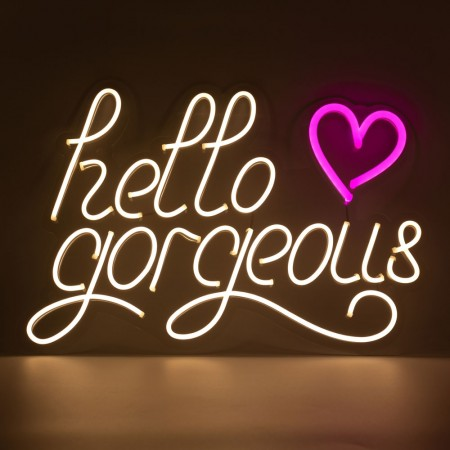 Neon Hello Gorgeous Wall Light Sign- Red Candy
