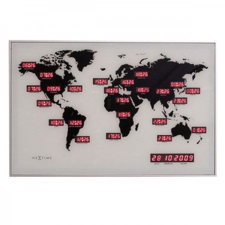 Nextime World Time Digit Clock - Red Candy