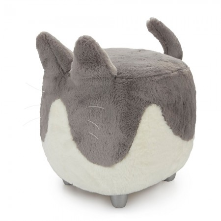 Nora the Grey Cat Footstool - Red Candy