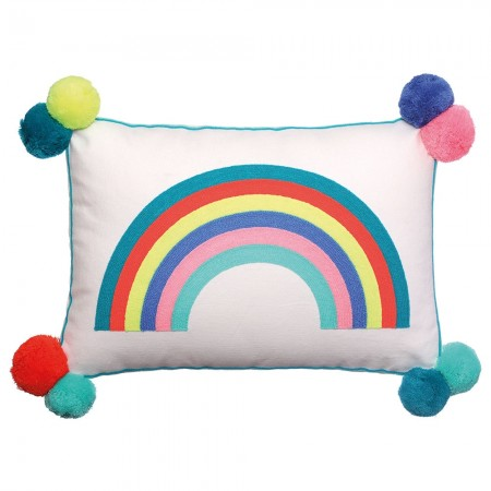 Over the Rainbow Embroidered Cushion - Red Candy