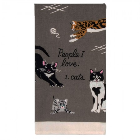 People I Love: Cats Tea Towel - Red Candy