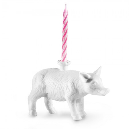 Pig Birthday Candle Holder - Red Candy