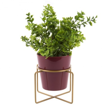 Coy Plant Pot With Stand  (Red) - Red Candy