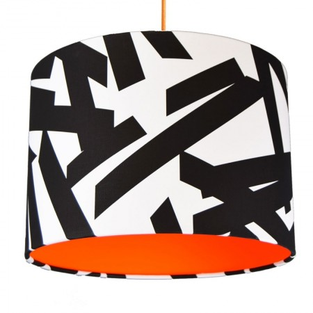 Monochrome Abstract Lampshade (Neon Orange) - Red Candy