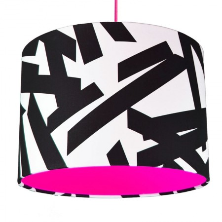 Monochrome Abstract Lampshade (Neon Pink) - Red Candy