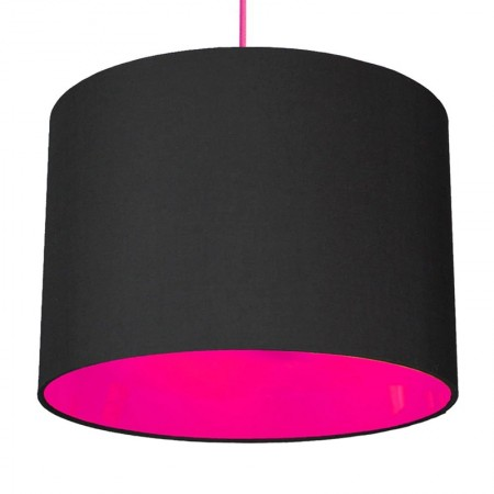 Neon Lined Lampshade (Black & Pink) - Red Candy
