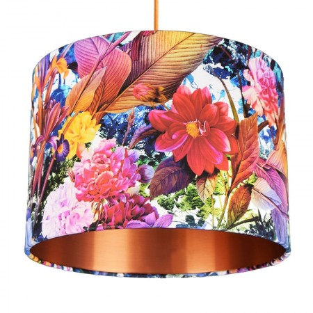 Tropical Floral Drum Lampshade (Copper) - Red Candy