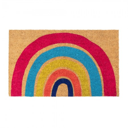 Hand Painted Rainbow Doormat - Red Candy