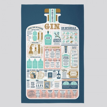 A Guide to Gin Tea Towel - Red Candy