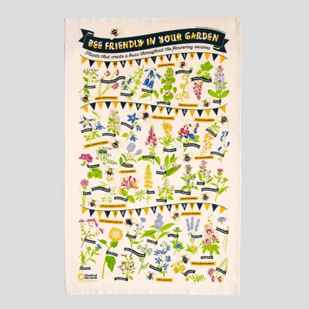 Bee Friendly Tea Towel - Red Candy