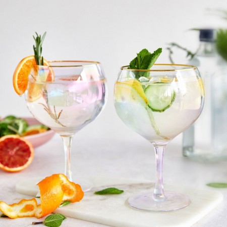 Iridescent Gin Glasses (Set of 2) - Red Candy