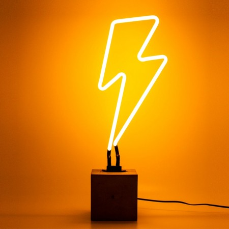 Neon Lightning Bolt Table Lamp Sign (Yellow) - Red Candy