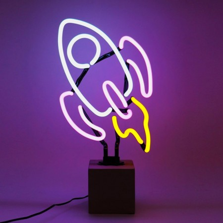 Neon Rocket Table Lamp Sign - Red Candy