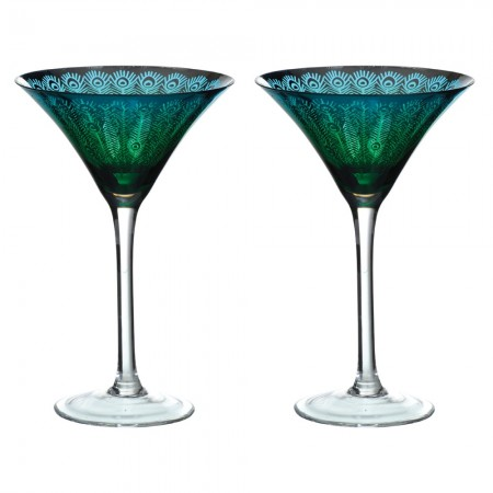 Peacock Martini Glass (Set of 2) - Red Candy