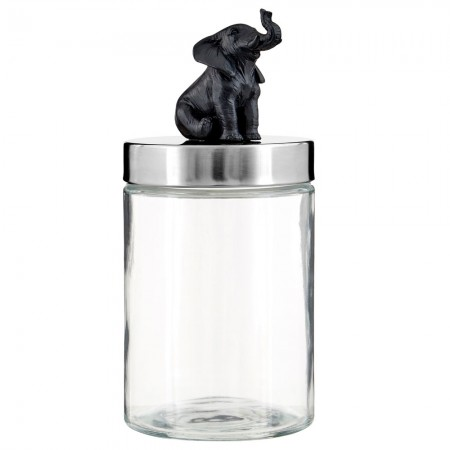 Sitting Elephant Glass Jar - Red Candy