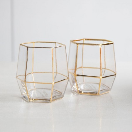 Root7 Geo Gold Glasses (Set of 2) - Red Candy