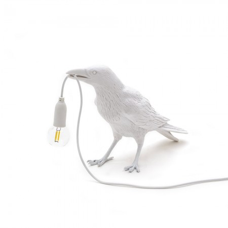 Seletti Waiting Bird Lamp (White) - Red Candy