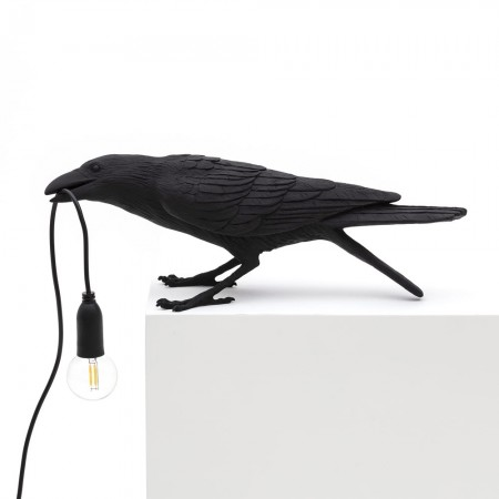 Seletti Playing Bird Lamp (Black) - Red Candy